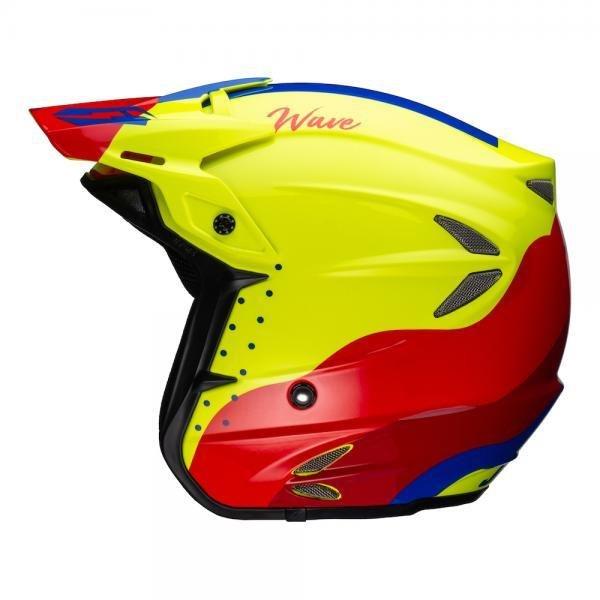 Helmet - Jitsie 'Wave' HT2 - Red/Fluo Yellow/Blue - Fiberglass
