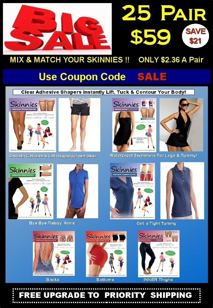 """Today's Steal! PICK TWO! Mix & Match Skinnies 25 Pair $59!  Only $2.36 a Pair! Use COUPON CODE   """"SALE""""  Save $16.00 NOW! Pay First Class Mail  $5.50 & Get FREE UPGRADE TO PRIORITY SHIPPING (USA Only)"""