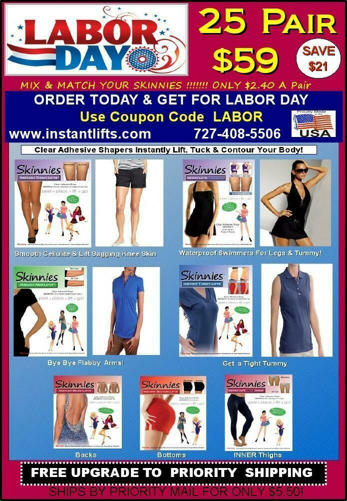 """LABOR DAY SALE! PICK TWO Mix & Match Skinnies 25 Pair $59!  Only $2.36 a Pair! Use Coupon Code   """"LABOR""""  Save $16.00 Plus Get Priority Shipping for $5.50 (USA ONLY) SELECT THIS OFFER & CHOOSE!"""
