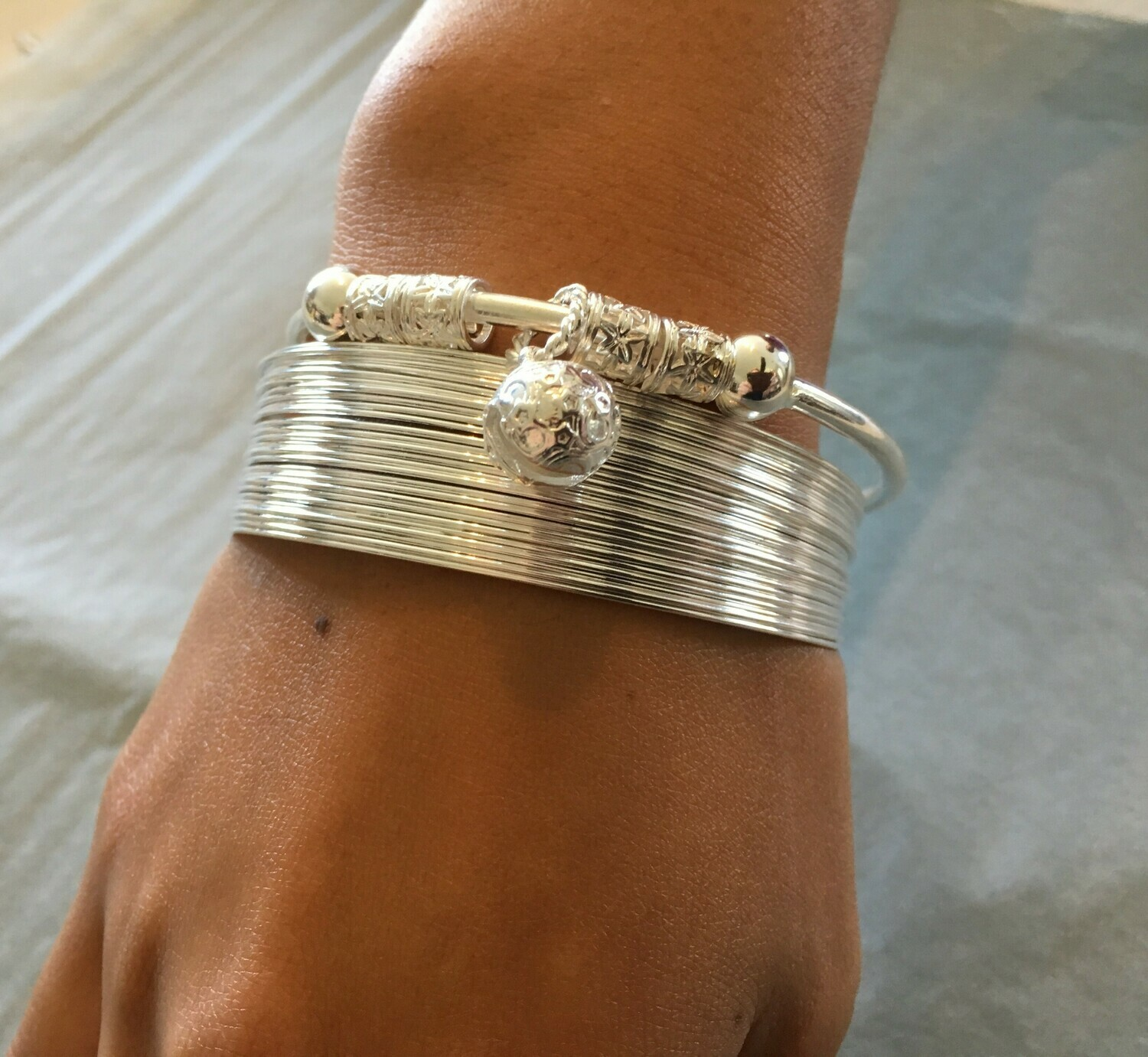 WAS $64.90 - 57% OFF - Gorgeous 2 Piece Set of Sterling Silver Bangle & Sterling Silver woven cuff