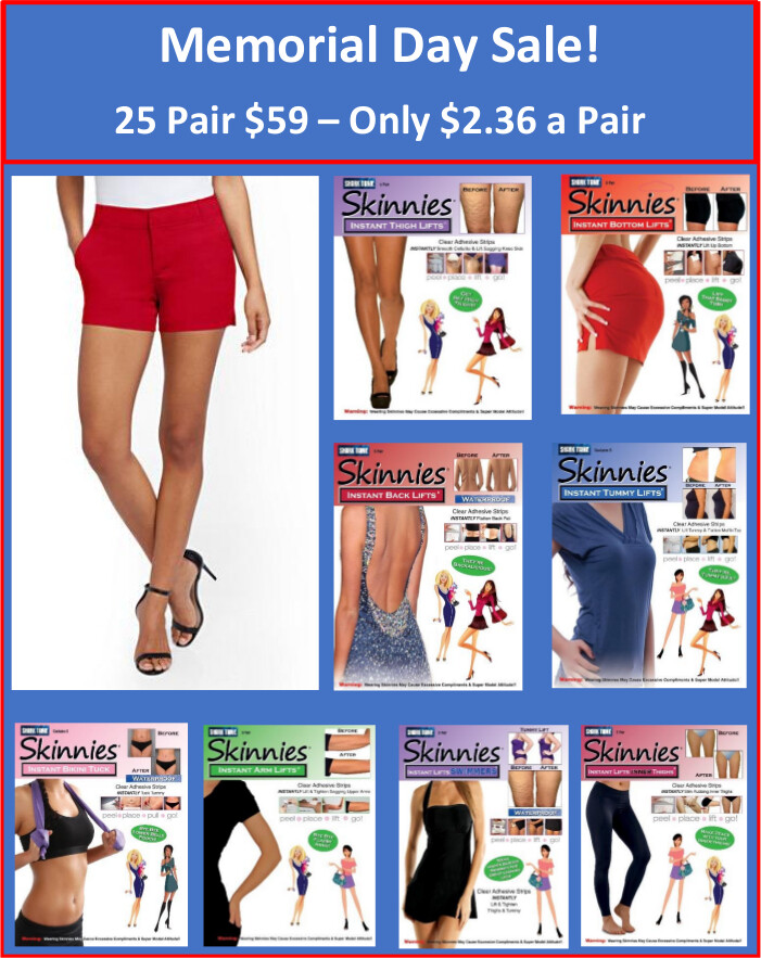 MEMORIAL DAY SALE!  Get 25 Pair of Skinnies for $59!  Only $2.36 a Pair Use Coupon Code MEMORIAL  Reg $75  Today  $59