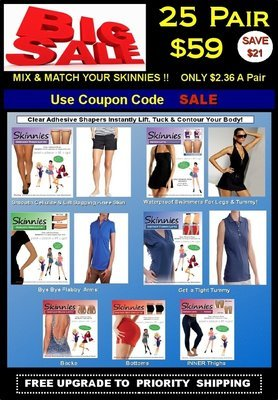 Today's Steal! PICK TWO! Mix & Match Skinnies 25 Pair $59!  Only $2.36 a Pair! Use COUPON CODE