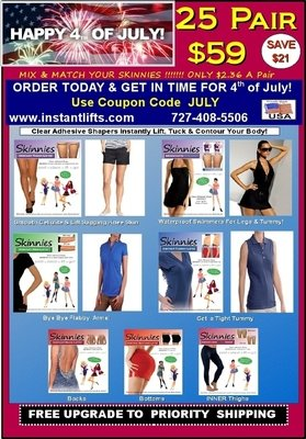 """4th of July Special!   Mix & Match Skinnies 25 Pair $59!  Only $2.36 a Pair! Use COUPON CODE   """"JULY""""  Pay 1st Class Shipping & Get FREE UPGRADE to Priority Shipping(N/A Outside USA)  SAVES $21.00!"""