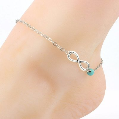 WAS $12.95 - 54% OFF!  Ankle Bracelets are Back! Silver Plated Infinity with  Turquoise  Colored Bead
