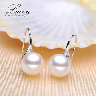 WAS $49.95 - 70% OFF!  Exquisite Genuine Pearl Dangles Set in Sterling Silver (9-10) mm