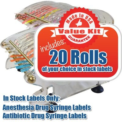 ARGO™ Value Kit: Double-Tier Desktop Anesthesia Label Dispenser + 20 Rolls of Labels