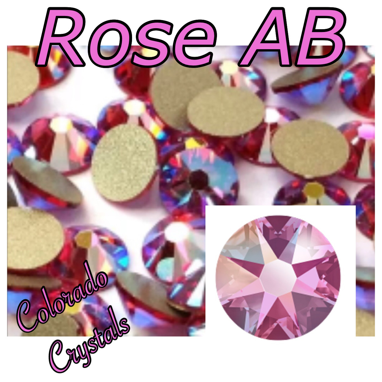 Rose AB 7ss 2058 Limited Pink Rhinestones
