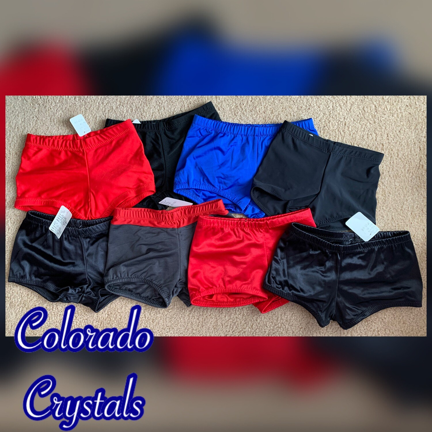 Custom made Child S/M gently used Dance gymnastics cheer Shorts discounted