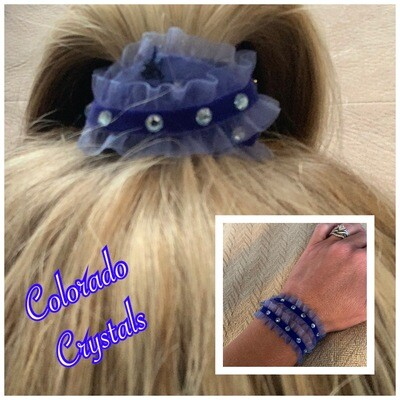 Hair Tie Wrap Rhinestoned with Swarovski crystals - Blue