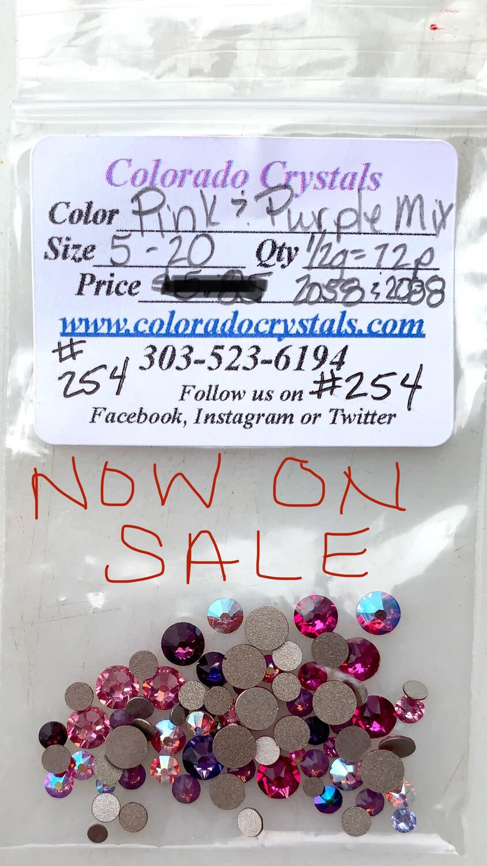 Pink & Purple Variety of Swarovski Crystals