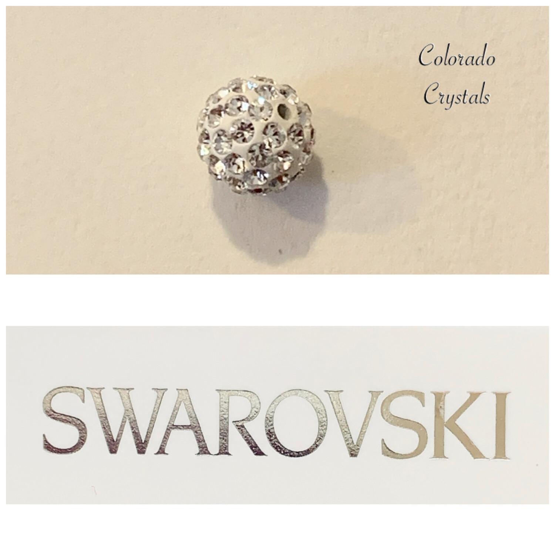 Half Hole Pave' Ball Crystal Bead 86301 Swarovski