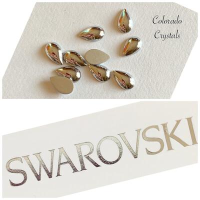Cabochon Drop FB 10 pc Crystal Light Chrome 2308/4 8x5 mm Swarovski
