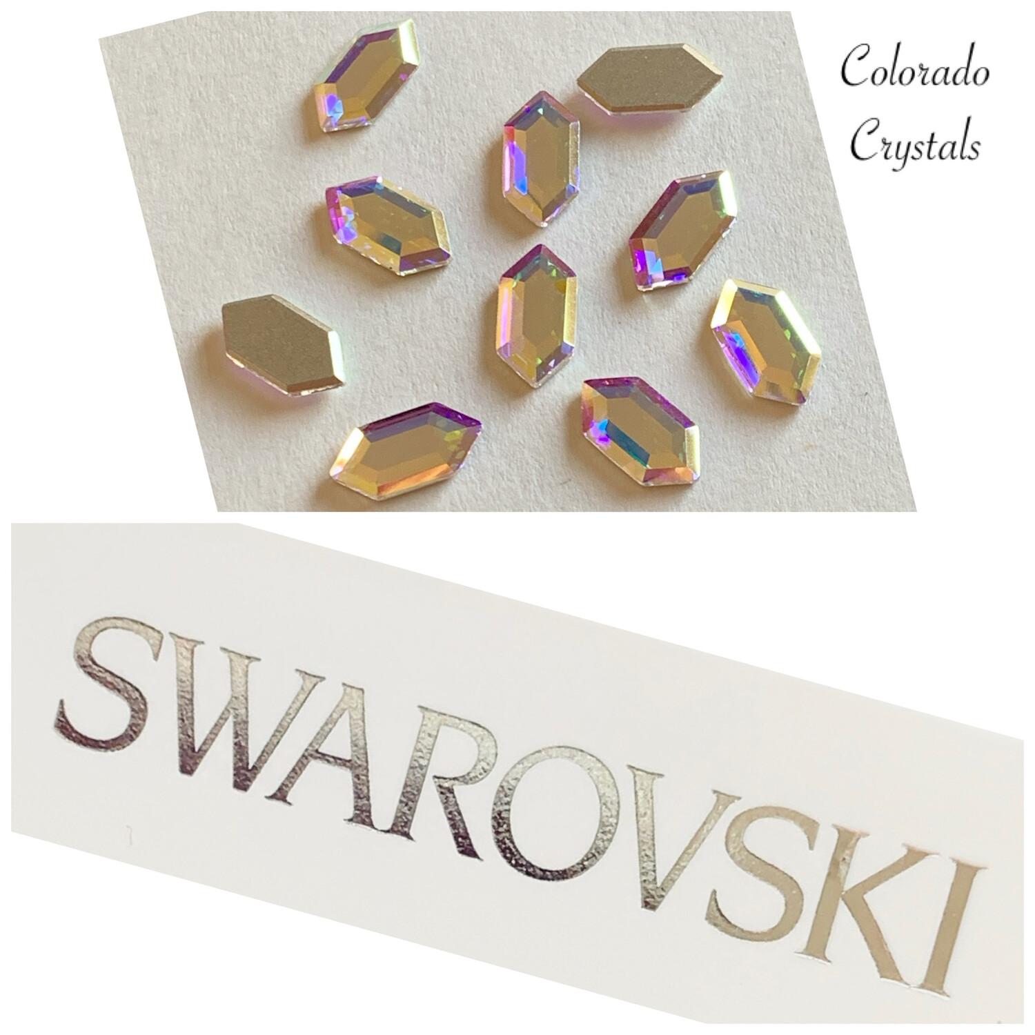 Elongated Hexagon FB 10pc Crystal AB 2776 11X5.6 mm Swarovski