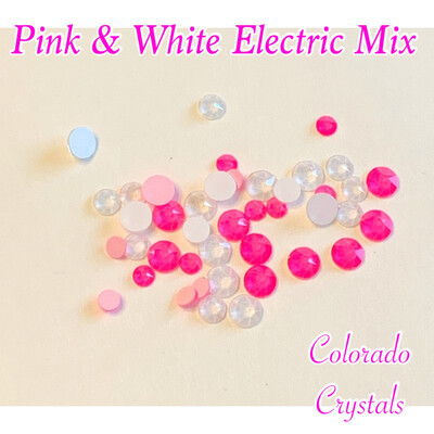 Pink & White Electric Crystal Mix Swarovski 2088