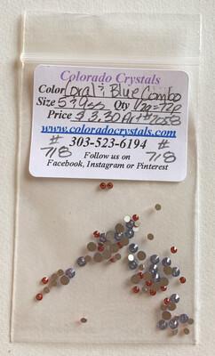 Coral & Blue Combo - 2058 Swarovski
