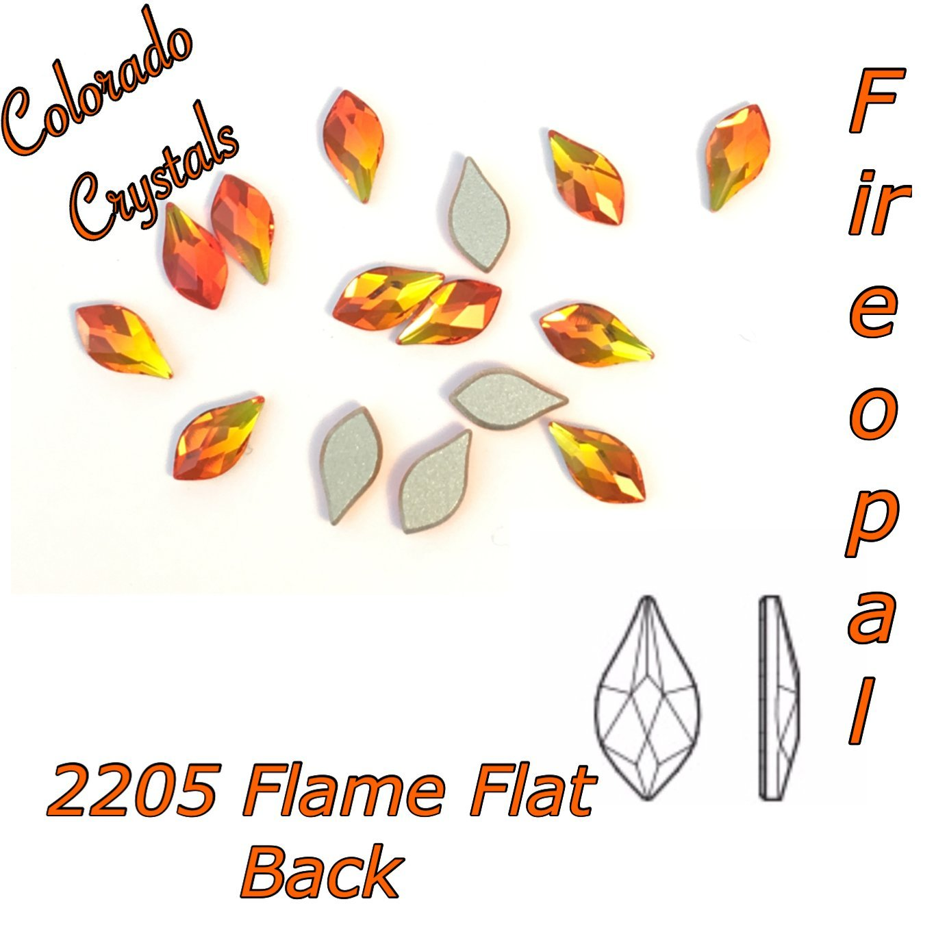 2205 Flame Flat back 7.5mm Fire Opal LIMITED
