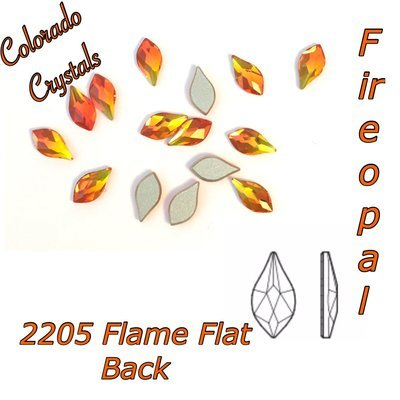 2205 Swarovski Rhinestones Flame Flat back 7.5mm Fire Opal LIMITED