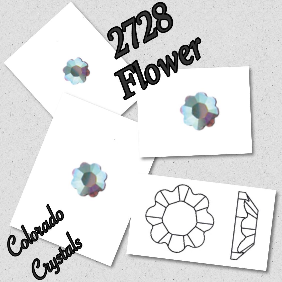 2728 Flower - Crystal AB - Swarovski Fancy Flatback 10ss LIMITED