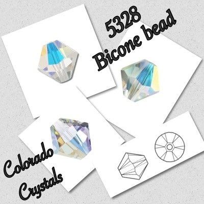 5328 Bicone Bead 4mm Crystal AB LIMITED