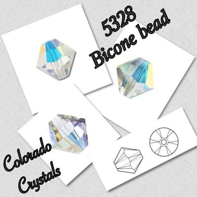 5328 Bicone Bead 4mm Crystal AB LIMITED
