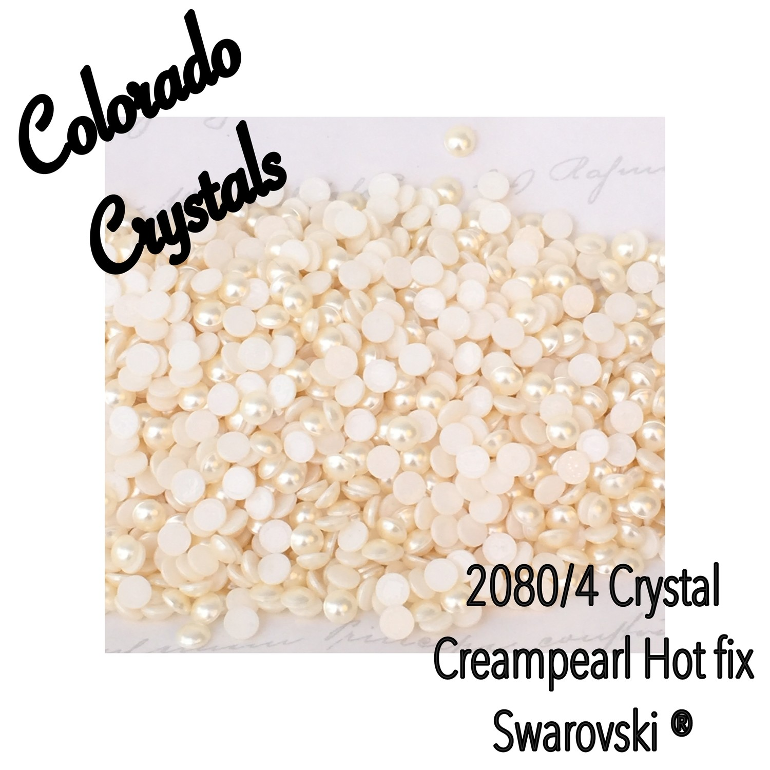 2080/4 Pearl Swarovski Hot Fix Flat backs Cream LIMITED