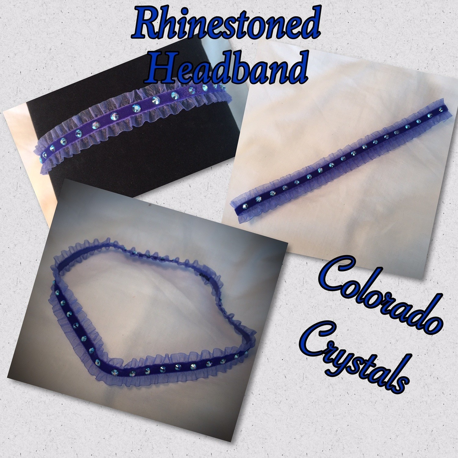 Baby Toddler headband Rhinestoned with Swarovski crystals - Blue