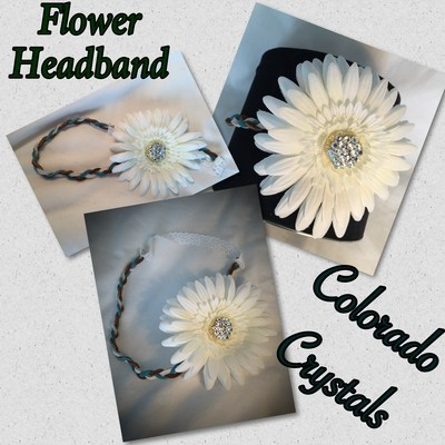 Headband Leather Braided handcrafted with Flower