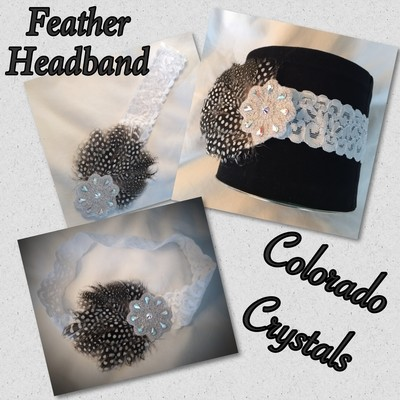 Stretch headband w/feather, flower & Swarovski Crystals