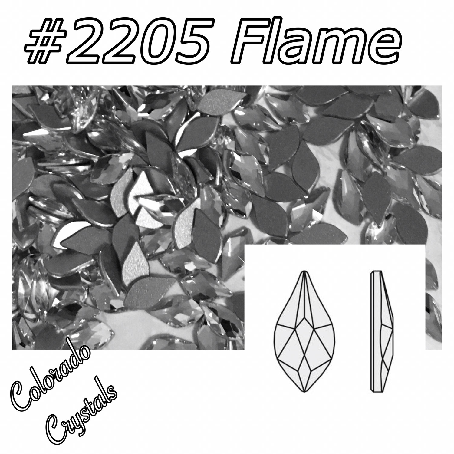 2205 Flame Flat back Swarovski 7.5mm Crystal LIMITED