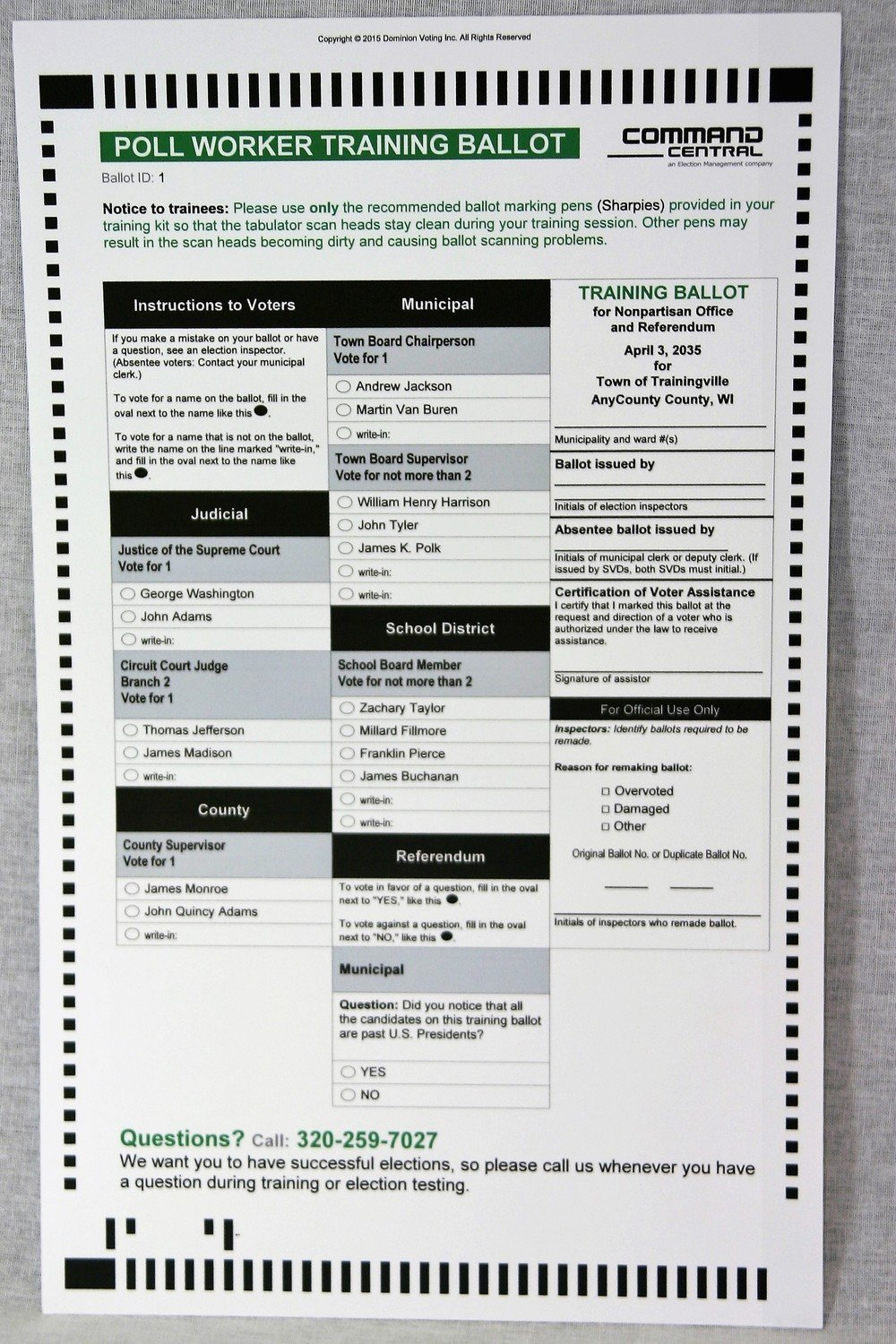 Blank Test Ballots (ICE - Pack of 50)
