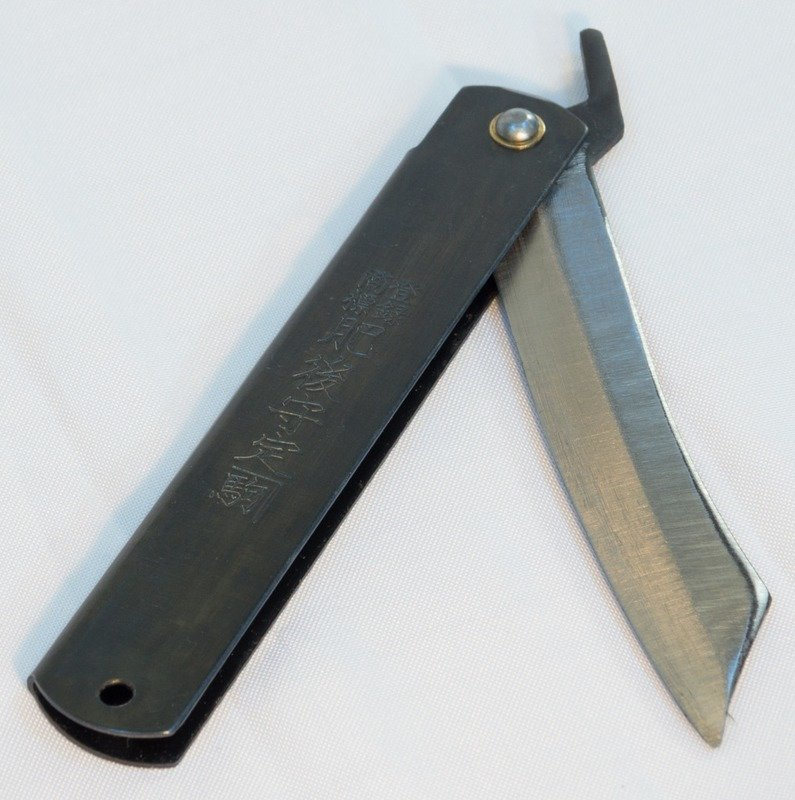 High Carbon Steel HIGO Knife (120mm) — Black Handle