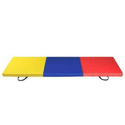 6' x 2' Exercise Tri-Fold Gymnastics Mat w/ Carrying Handles-Multicolor - Color: Multicolor