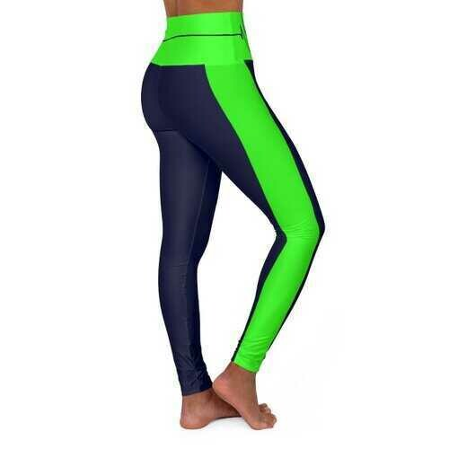 High Waisted Yoga Leggings, Navy Blue and Neon Green Beating Heart Sports Pants