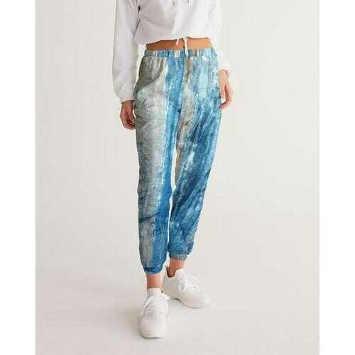 Womens Sportswear, Gray Blue and White Abstract Style Track Pants