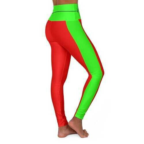 High Waisted Yoga Leggings, Red and Neon Green Beating Heart Sports Pants