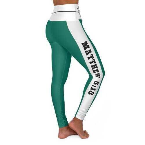 High Waisted Yoga Leggings, Teal Green Salt of the Earth Matthew 5:13 Beating Heart Sports Pants