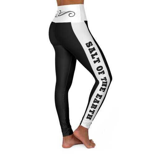 High Waisted Yoga Leggings, Black and White Salt of the Earth Scroll Style Sports Pants