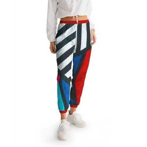 Colorful Grid Line Style Womens Athletic Track Pants