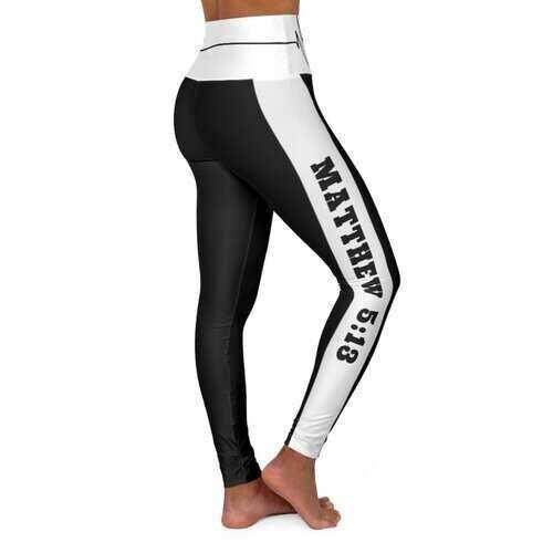 High Waisted Yoga Leggings, Black and White Salt of the Earth Matthew 5:13 Beating Heart Sports Pants