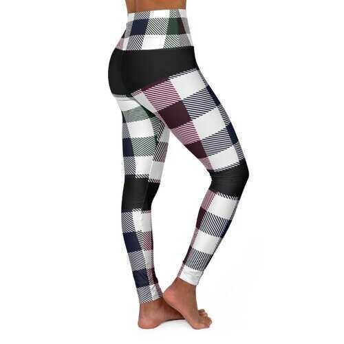 High Waisted Yoga Pants, Blue Burgundy Green and Black Bottom Plaid Stripped Style Sports Pants