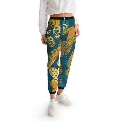 Womens Track Pants, Blue and Gold Multiprint Style Athletic Pants