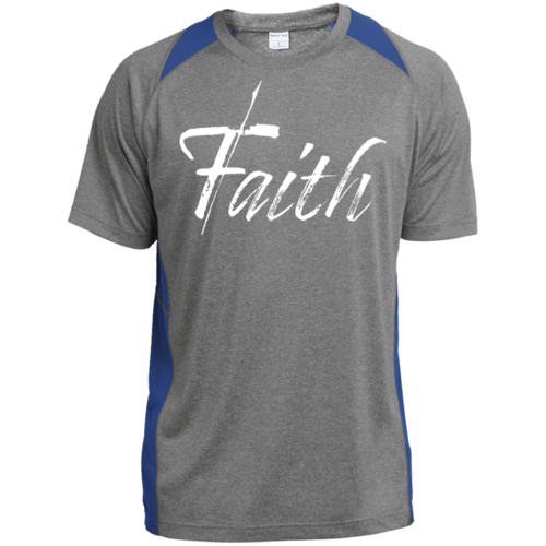 FAITH Graphic Style Colorblock Mens Athletic Shirt