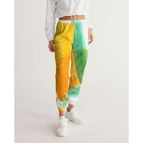 Womens Athletic Pants, Orange Gold and Green Color Swatch Style Track Pants