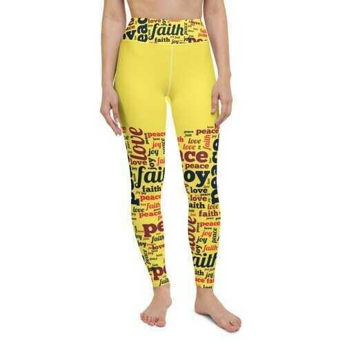 Womens Athletic Pants, Peace Love Joy Faith Graphic Style Yellow Yoga Leggings