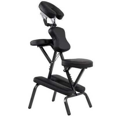 PU Leather Pad Travel Massage Chair with Carrying Bag - Color: Black