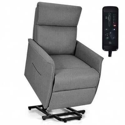 Electric Fabric Padded Power Lift Massage Chair Recliner Sofa-Gray - Color: Gray
