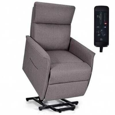 Electric Power Fabric Padded Lift Massage Chair Recliner Sofa-Beige - Color: Beige