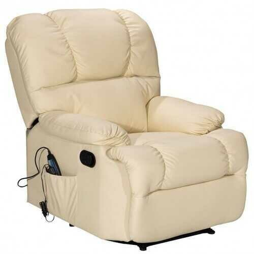 Recliner Massage Sofa Chair Deluxe Ergonomic Lounge Couch Heated W/Control-beige - Color: Beige