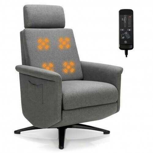 Swivel Massage Recliner Single Sofa with Adjustable Headrest-Gray - Color: Gray