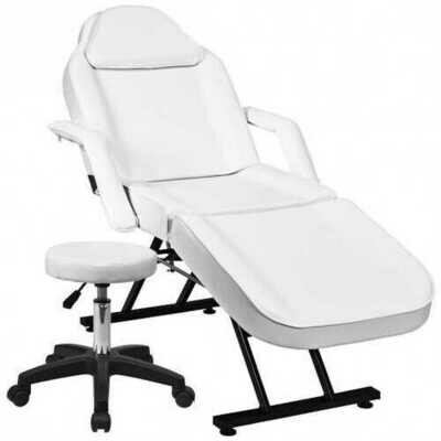 Massage Tattoo Facial Beauty Spa Salon Chair with Stool-White - Color: White